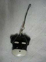 携帯ストラップ・プチシュナウザー・たれ耳&丸ひげタイプ・ブラック(白ひげ)