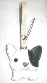 携帯ストラップ・フレンチブルドッグ・パイド(左耳のみ黒)