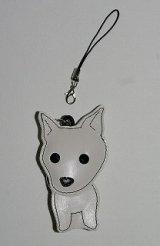 携帯ストラップ・柴犬・白