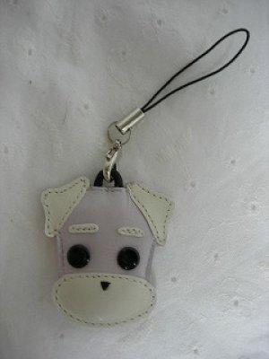 画像1: 携帯ストラップ・プチシュナウザー・たれ耳&丸ひげタイプ・薄グレイ(白ひげ)