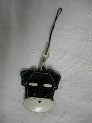画像1: 携帯ストラップ・プチシュナウザー・たれ耳&丸ひげタイプ・ブラック(白ひげ)