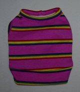 元気ピンクのレインボーストライプTシャツ